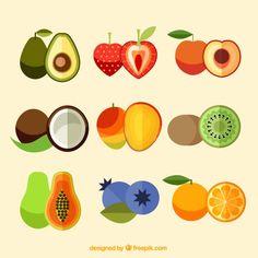 Design Plat, Flat Design, Fruit Illustration, Food Illustrations, Style Fruit, Coconut Vector, Fruit Packaging, Fruit Vector, Food Patterns