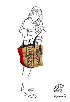 Recycled bags, Cabas, Sac cabas , Sac 100% recyclé, Sac reversible, Anse en ceinture recyclé, coffee bag, shopping bag de la boutique Pigmentit sur Etsy