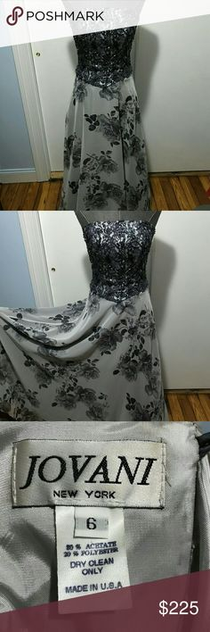 Unique Jovani Gray Beaded Floral  Gown Dress, Sz 6 Jovani formal gowns are known for exceptional quality and attention to detail. Jovani's creations are the perfect choice for everything from evening parties and weddings to prom and red-carpet events!    Please note: my items for sale are vintage clothes which  have been lovingly worn.  They are in good to very good condition (unless otherwise noted),  Please examine photos carefully.  There are no returns.  Please don't hesitate to contact…
