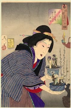 "Yoshitoshi (32 Aspects of Women) - ""Looking as if she wants to change: the appearance of a proprietress of the Kaei era"" (1848-1854)"
