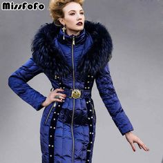 Miss FoFo Womens Down Jackets Royalcat Coats High Quality Real Raccoon Fur Female Slim Beading Fashion Outwear Women's Clothing