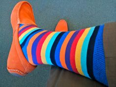 orange shoes and rainbow socks, that's how I rolled out this morning.