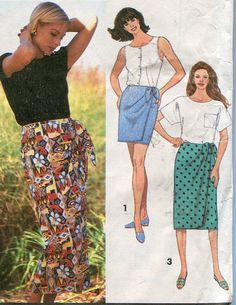 1990s Sarong Skirt Pattern Simplicity 8304 Four Lengths  2 hour pattern  Size 8 to 14  Waist 24 to 28 UNCUT