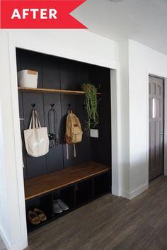 Remodel Our Small Condo Reveal Entry Closet, Front Closet, Closet Redo, Laundry Closet, Small Laundry, Laundry Rooms, Closet Mudroom, Closet Doors, Ikea Kallax Shelf Unit