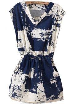 Blue V Neck Sleeveless Floral Slim Dress