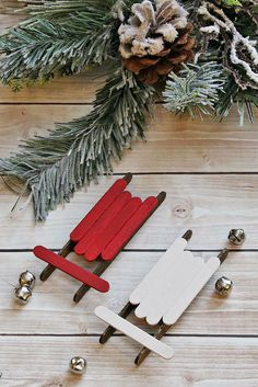 Handmade Christmas Ornaments Popsicle Stick Sleds is part of Simple Kids Crafts Popsicle Sticks - These popsicle stick sleds Christmas ornaments are an easy DIY project that even the kids can do and add a simple, rustic touch to your Christmas decor Popsicle Stick Christmas Crafts, Christmas Crafts For Toddlers, Christmas Wreaths To Make, Outdoor Christmas Decorations, Christmas Crafts For Kids, Diy Christmas Ornaments, Craft Stick Crafts, Toddler Crafts, Handmade Christmas