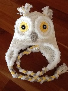 White yellow and gray owl hat with fur by DelaneysDelicateDesi, $26.99