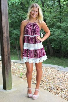 Berry Halter Lace Dress >> www.anchorabella.com New Arrivals Daily! Fast, Free Shipping!