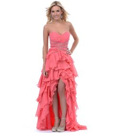 Coral Ruffles Chiffon High Low Prom Dress - Unique Vintage - Cocktail, Pinup, Holiday & Prom Dresses.