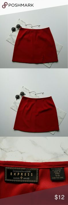 Express Red Suede Skirt Red Suede express skirt with slit on the side Express by Marque Deposee Skirts Mini