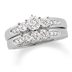 2 CT. T.W. Diamond Three Stone Bridal Set in 14K White Gold