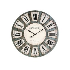 Distressed wall clock with a Roman numeral dial. Product: Wall clock Construction Material: MDF and metal Color:. Tabletop Clocks, Unique Wall Clocks, Rustic Clocks, Big Clocks, Unusual Clocks, Antique Clocks, Modern Clock, Rustic Blue, Clock Decor