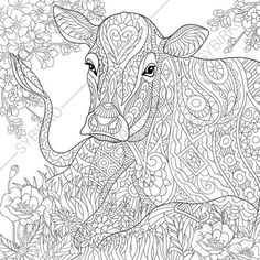 Adult Coloring Pages. Cow. Zentangle Doodle Coloring Book Page for Adults. Digital illustration. Instant Download Print.