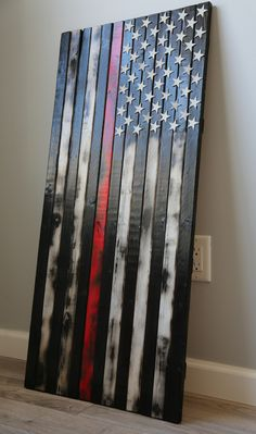 Image of Rustic Burnt Thin Red Line Flag