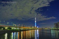 東京スカイツリー ライトアップ 粋  隅田川 白髭橋  Tokyo Sky Tree Light-up