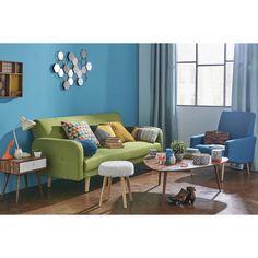 Table de chevet vintage et table basse ANDERSEN, canapé convertible BRODWAY, fauteuil KELTON, miroir DIXIE   Maisons du Monde