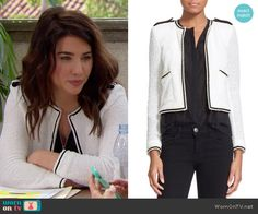 Steffy's white jacket with black trim on The Bold and the Beautiful.  Outfit Details: https://wornontv.net/57790/ #TheBoldandtheBeautiful  Buy it here: http://wornon.tv/36201