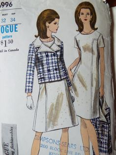 1960s Vogue sewing pattern for a semi fitted A line mini dress and jacket with feature rever collar  The dress has top stitching trim to create the affect shown  Bust 32   UK Seller