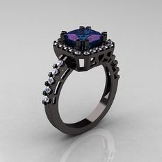 Modern Art-Deco 14K Black Gold 2.0 Carat Princess Alexandrite Diamond Solitaire Wedding Ring R223-14KBGDAL