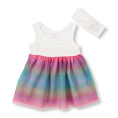 Newborn Baby Sleeveless Rainbow Mesh And Lace Flare Dress And Headwrap Set - White - The Children's Place