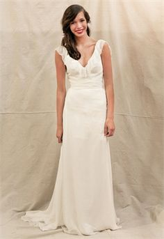 Great A Line Off The Shoulder Chiffon Deep V Neck Simple White
