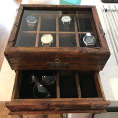 Wooden Watch Box, Wood Watch, Black Velvet, Mens Watch Box, Kydex Holster, Watch Case, Watches For Men, Etsy, Woodworking
