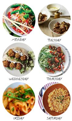 A meal plan for Monday-Saturday. I'll probably mix it up, because sometimes you need a Saturday meal on a Tuesday.