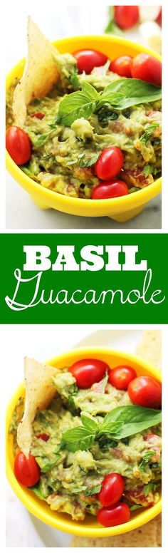 Basil Guacamole - A delicious twist on the classic guacamole made with fresh basil, tomatoes, onions and lime. With @vitafrute @sheknows
