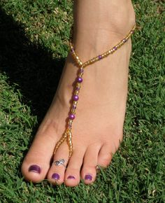 gold and purple barefoot sandals
