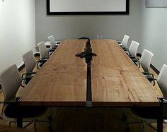 Elm Slab Conference Table_2 #SanDiegoOfficeDesign #SDOfficeDesign #gorgeousOffice #OfficeDesigner #interiorDesign #TamaraRomeo #BrandedDesign #bestofficedesign #office #commercial