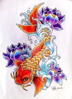 Atrapasueños Tattoo, Carp Tattoo, Koi Fish Tattoo, Tattoo Flash, Trendy Tattoos, Love Tattoos, Beautiful Tattoos, New Tattoos, Tatoos