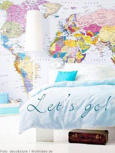 Fototapete Weltkarte im Schlafzimmer