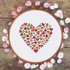 Coeur de coeurs de croix modèle de point mignon par ThuHaDesign
