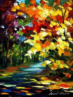 3 the gold of fall - original oil painting by Leonid Afremov Leonid Afremov Paintings, Colorful Paintings, Tree Art, Painting Inspiration, Painting & Drawing, Cool Art, Art Photography, Abstract Art, Artwork