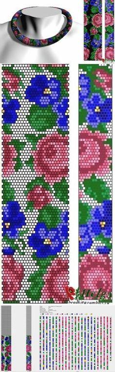 """Схема жгута """"Розы с фиалками"""" уменьшенная / Схемы / Бусинка"""