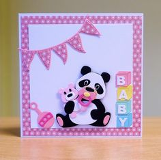 New Baby Girl Card - Marianne Collectables Panda Die & Baby Accessories Die. To purchase my cards please visit CraftyCardStudio on Etsy.com.