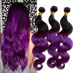 "20""20""20""3Bundles Human Hair Extension ombre Purple 2tone 50g/Bundle Hair Wefts #Wigiss #HairExtension"