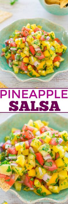 Pineapple Salsa - You won't be able to resist this EASY salsa with pineapple, bell peppers, tomatoes, and more!! It tastes like a TROPICAL vacation! Ready in 5 minutes, healthy, and PERFECT for parties!!