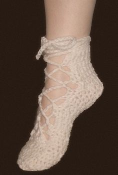 Crochet Pattern Shoes---------------------------Soft and Feminine Lace Up Ballet Shoes