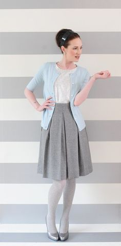 Love this skirt. A-line yet a structured sturdy material, perfect color and right at the knee (perfect for work).