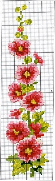 cross stitch chart flowers - possible use on loom beadwork Cross Stitch Bookmarks, Counted Cross Stitch Patterns, Cross Stitch Charts, Cross Stitch Designs, Cross Stitch Embroidery, Embroidery Patterns, Stitch Pictures, Cross Stitch Needles, Cross Stitch Flowers