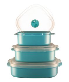 This Turquoise Three-Piece Cookware & Storage Set by Reston Lloyd is perfect! #zulilyfinds