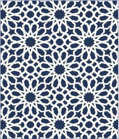 This wallcovering, Agadir Screen, features a geometric floral pattern with a stunning kaleidoscope effect that is both exotic and universal. The tight pattern provides the structured feel of a glorious stained glass window and can bring any space to life. Colorways feature Noir, a brilliant Lapis, and a rich Mocha.