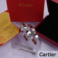 Cartier Leve Lovers Bangles White Gold Diamond (Double) Price:88.99