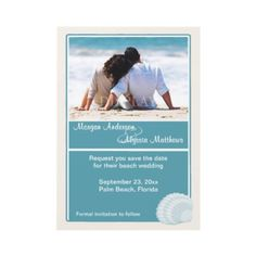Beach Wedding Save the Date Announcement  Destination Wedding Save the Date  Remind friends and family to save the date for your beach or vacation wedding with this customizeable photo save the date announcement in shades of teal and sand with a pastel seashell and white borders.