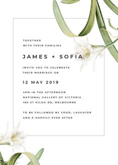 wedding invitations white These modern wedding invitations feature a beautiful lily flower in white colours with green leaves and touches of black. It is perfect for an elegant wedding theme. Contemporary Wedding Theme, Contemporary Wedding Inspiration, Elegant Wedding Themes, Spring Wedding Inspiration, Luxe Wedding, Wedding Ideas, Botanical Wedding Invitations, Modern Wedding Invitations, Botanical Wedding Theme