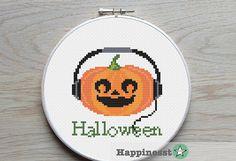 Halloween cross stitch pattern music pumpkin,fall, autumn by Happinesst