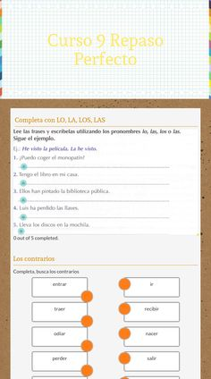 "Wizer.Me​ blended worksheet ""Curso 9 Repaso Perfecto"" ."