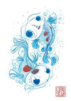 lustração de Clau Souza • Illustration of Clau Souza • clausouza.com • clausouzastore.etsy.com • poster para quarto de criança, japanese, ilustração vetorial, vector, cute illustration, koi, carpas, cultura oriental, poster oriental, fé oriental, amuleto da sorte, japanese wall art, blue pencil.