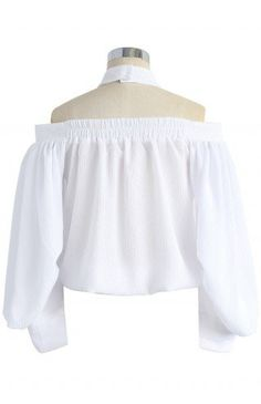 Dramatic Bubble Sleeves Top in White - Tops - Retro, Indie and Unique Fashion